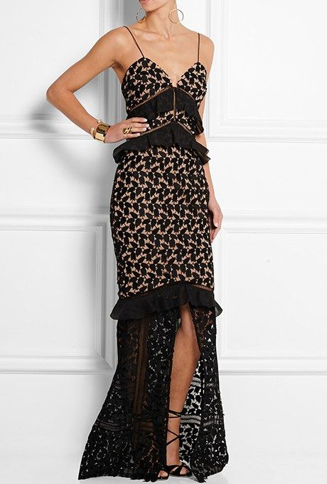 """Aaliyah"" guipure lace gown with organza ruffles, $725, Self-Portrait available at Net-a-Porter"