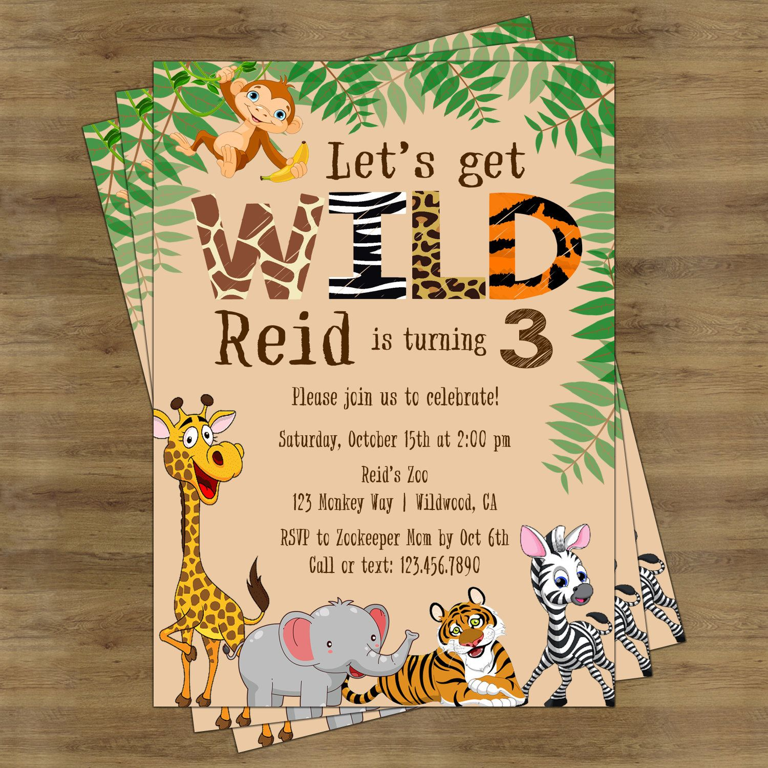 Zoo Birthday Invitation Safari Jungle