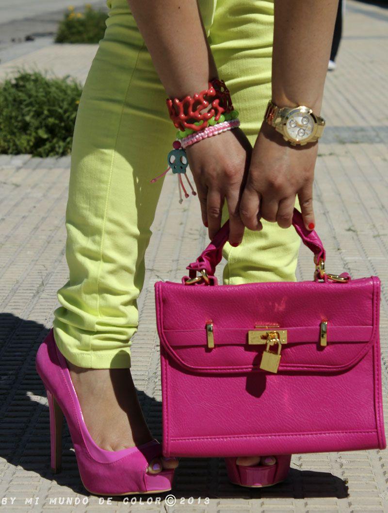 d03a1241d0982 fuchsia heels and fucsia bag tacones y bolsos fucsia