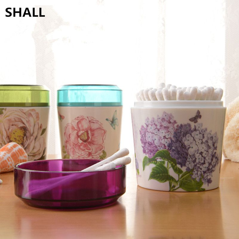 SHALL Creative Round Cotton Swab Q Tip Storage Box Holder Melamine Makeup  Case With Transparent