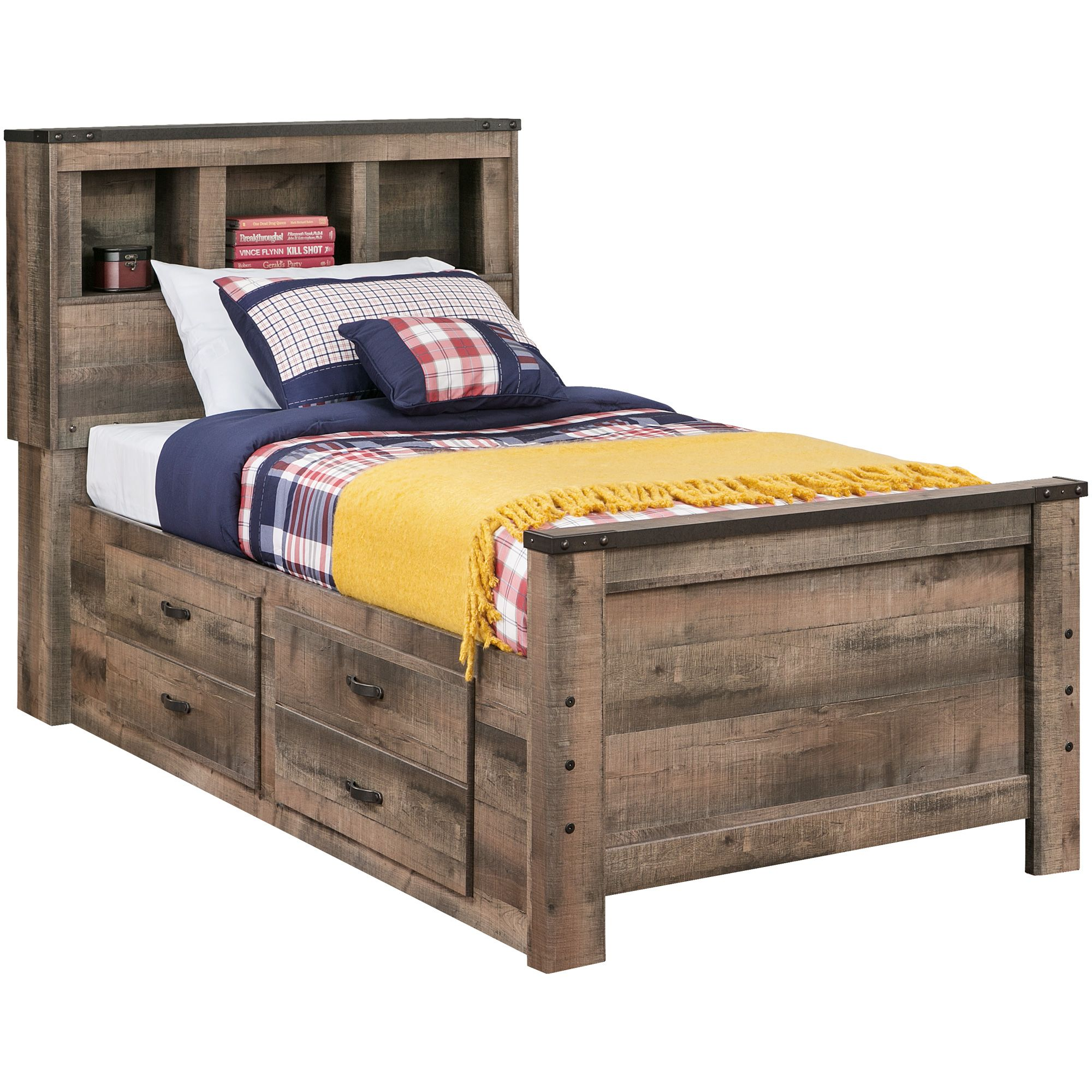 Trinell Rustic Plank Full Bookcase Storage Bed Bookcase