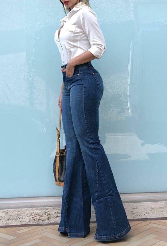 Calca Flare Bianca Em 2021 Looks Com Calca Flare Looks Looks Calca Flare Jeans