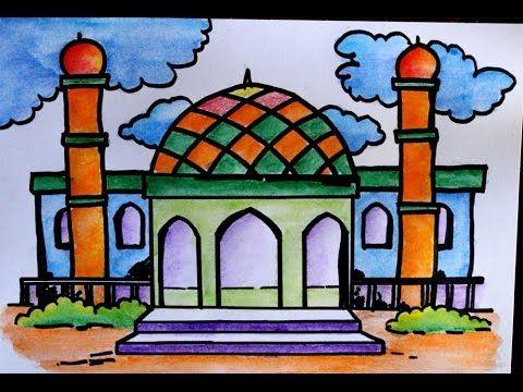 Hasil Mewarnai Masjid Anak Tk Literatur