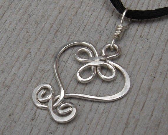 5f43b62c37916 Celtic Heart Sterling Silver Wire Pendant by nicholasandfelice ...