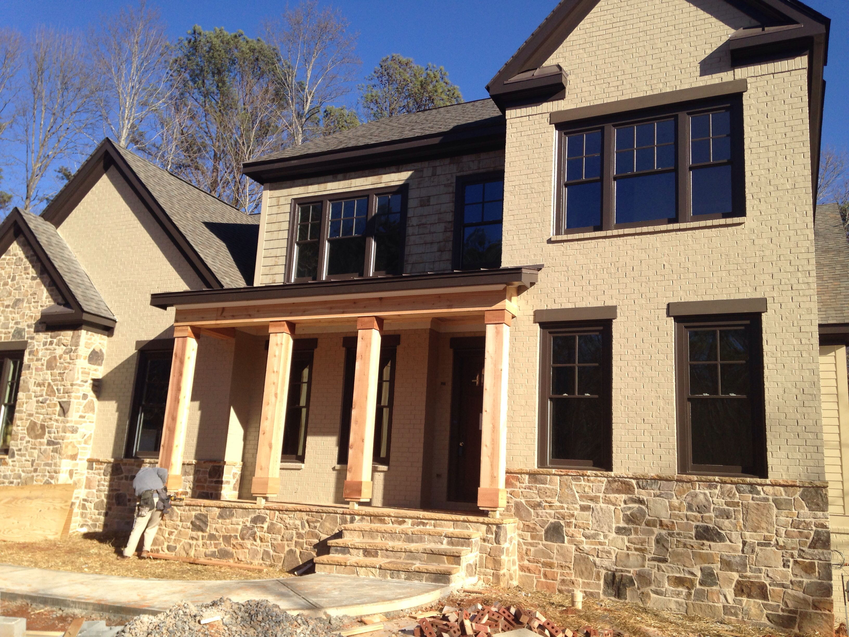 Front Elevation Of House With Porch : Painted brick mortar joint stone cedar front porch post