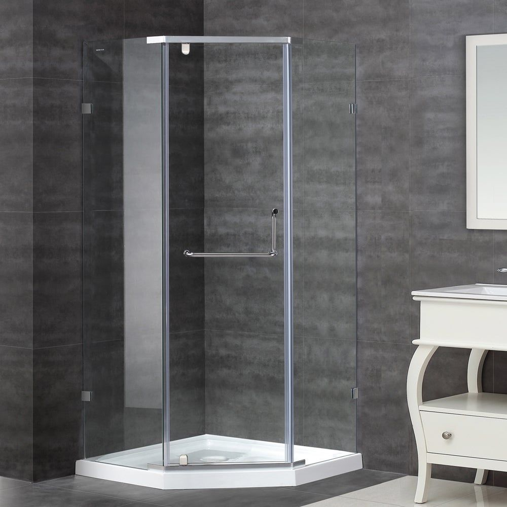 Aston 36 In X 36 In Semi Frameless Neo Angle Shower Enclosure In Stainless Steel With Base Silver Frameless Shower Enclosures Neo Angle Shower Shower Enclosure