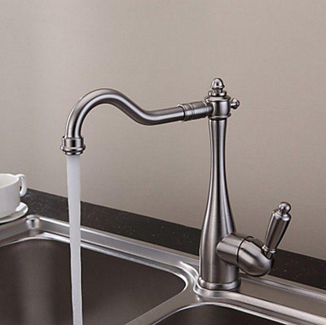 style vintage nickel bross design incurv robinet de cuisine t0797n design robinetterie. Black Bedroom Furniture Sets. Home Design Ideas