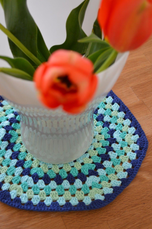 Mandala Häkeldeckchen In Blau Türkis Grün Von Www
