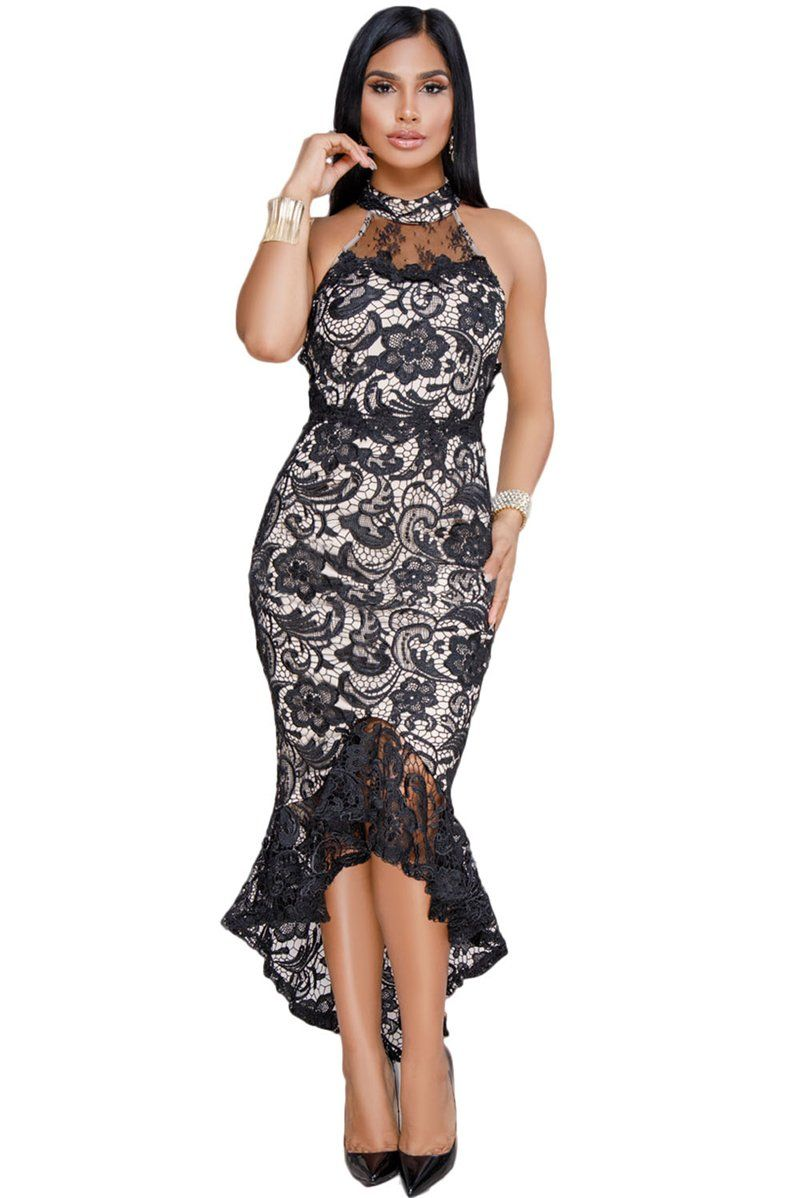 2b804a48305 Black Nude Illusion High Neck Ruffle Lace Dress - The Faddi - Sexy Clothes