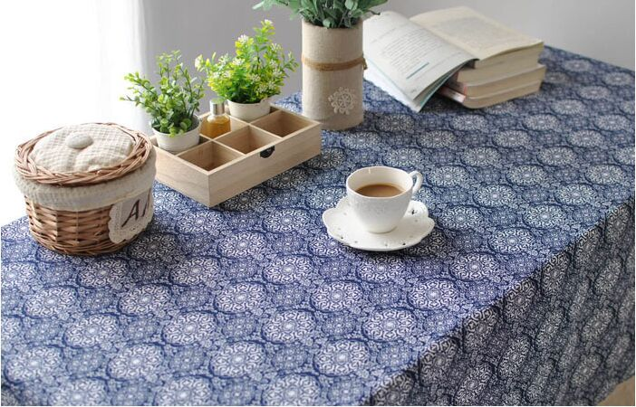 Chinese Tablecloth Neo Classical Style Japanese Style Blue Table Cloth  Household Cuisine Cover Towel