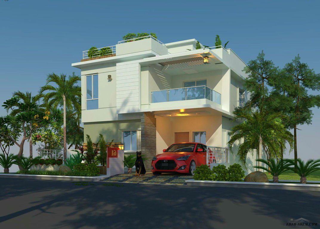 فيلا صغيرة المساحة تصميم مودرن 3 غرف نوم المخطط 3d House Design House Elevation House Styles