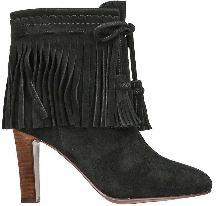 See by Chloe Fringed Suede Black Ankle Boots