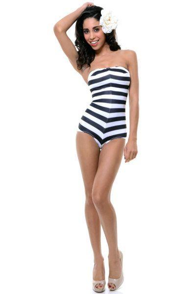 d3eb8b5357e Barbie striped swimsuit vintage style barbie.