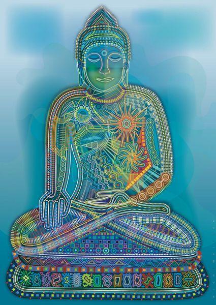 'Green Rainbow Buddha' von Bernd Wachtmeister bei artflakes.com als Poster oder Kunstdruck $22.17