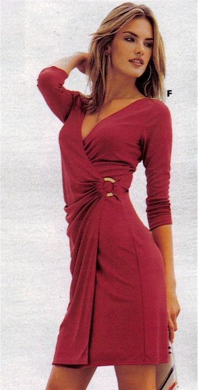 Red Wrap Dress with Sleeves