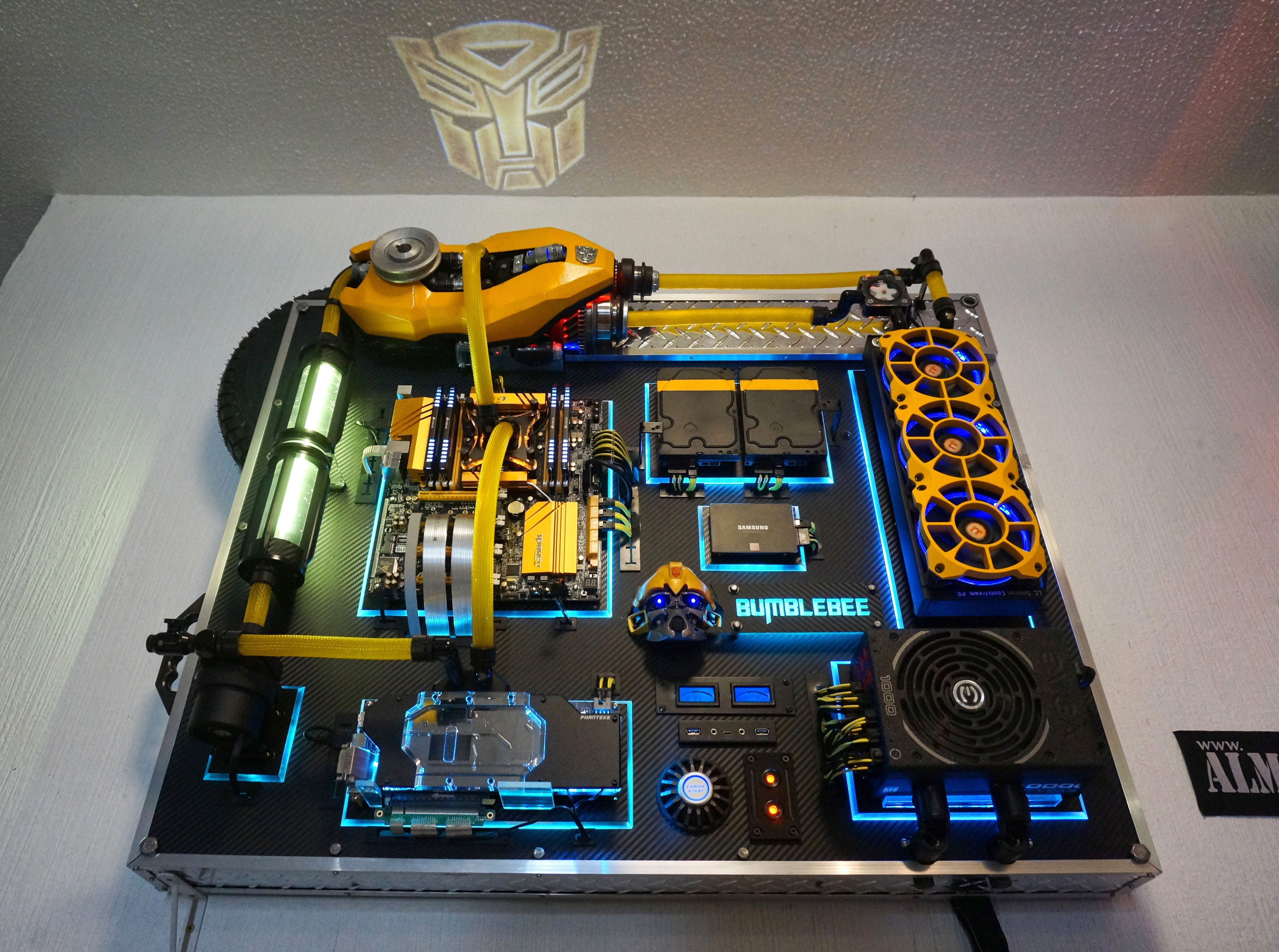 Check Out Reddit User U Marksmanguy S Wall Mounted Gaming Pc Bumblebee Wall Mounted Pc Custom Pc Custom Computer