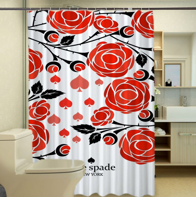 Rare Kate Spade Logo Beauty Red Rose Shower Curtain With Images