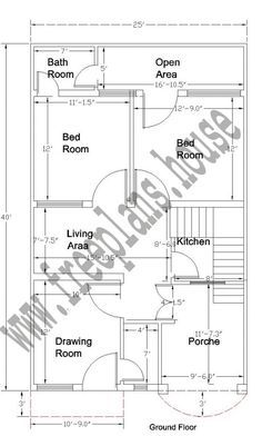 25x40 Ground Floor Plan | Courtyards in 2019 | Simple house plans