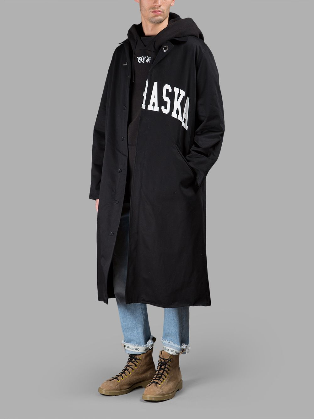 OFF-WHITE C/O VIRGIL ABLOH MEN'S BLACK NEBRASKA COAT