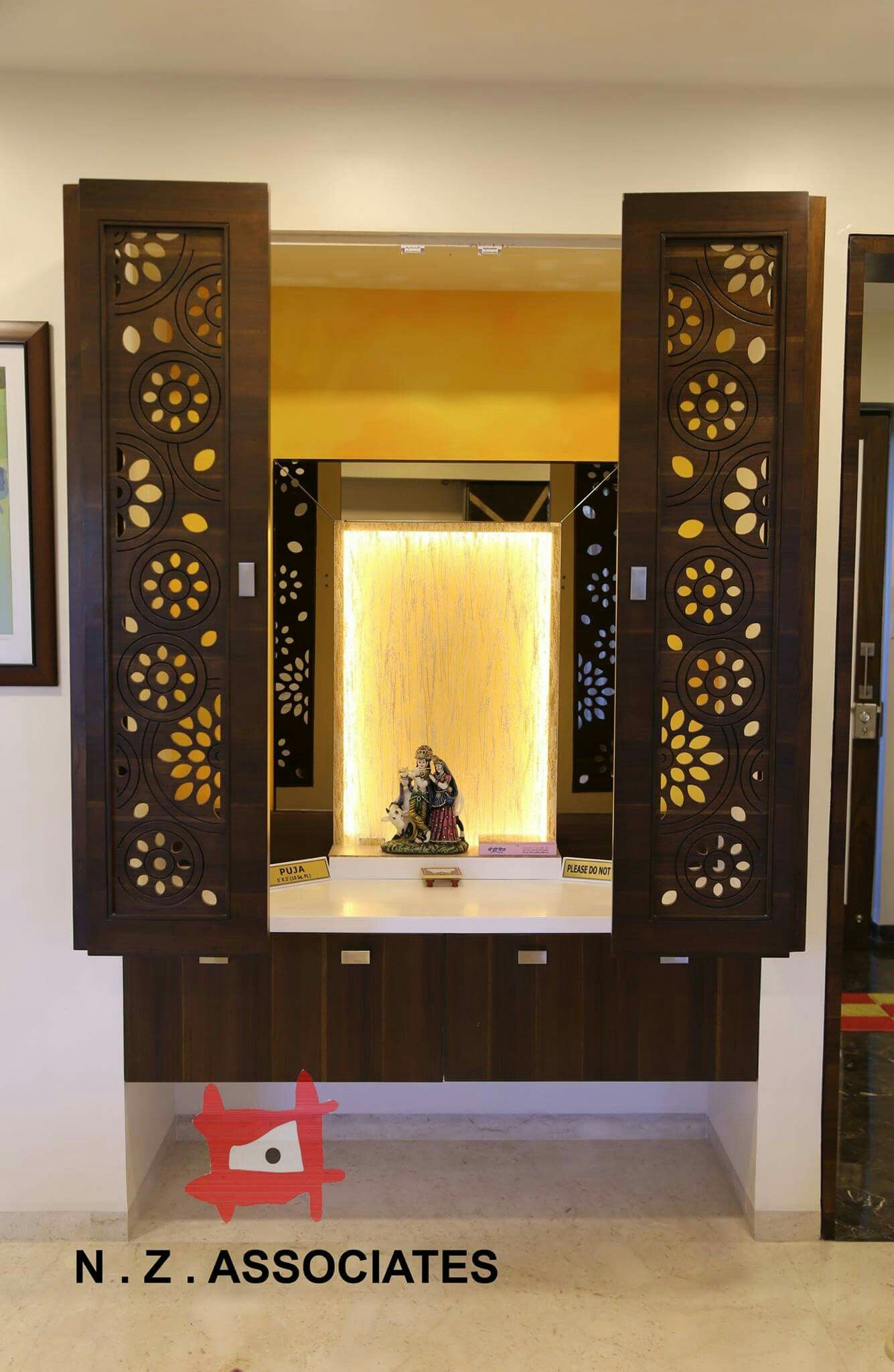 Pooja in  niche with shutters mandir design room altar also lattice doors that make your look more attractive rh pinterest