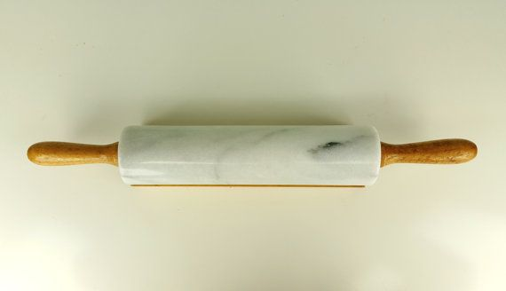 Vintage Gourmet Kitchen Marble Rolling Pin White Gray By Curioboxx