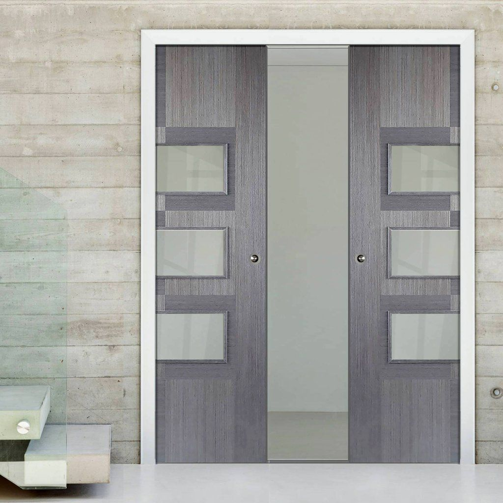 Double Pocket Apollo Chocolate Grey 3L Doors with Clear Safety Glass - Prefinished & Double Pocket Apollo Chocolate Grey 3L Doors with Clear Safety ...