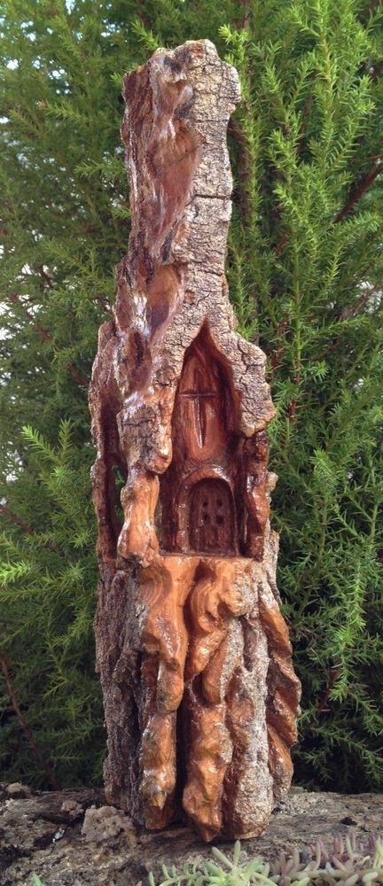 COTTONWOOD BARK CARVING CHURCH - HAND CARVED - ARTIST EVELYN JIMENEZ