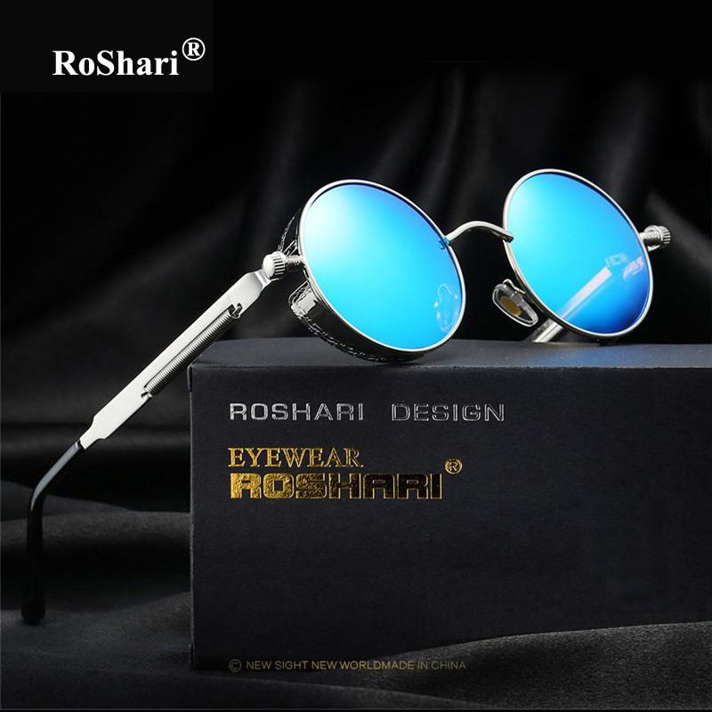 RoShari Round Metal polarized sunglasses women men brand designer Vintage  Steampunk Sun Glasses men Retro gafas oculos de sol  RetroMens bdc1b296ee