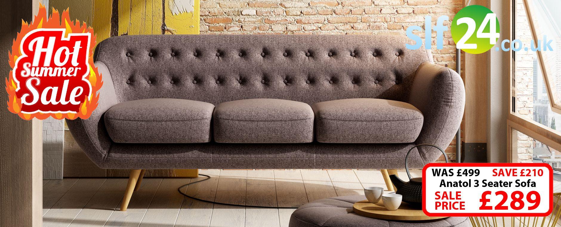 Sectional Sofa Anatol Seater Retro Sofa Fabric Sofas