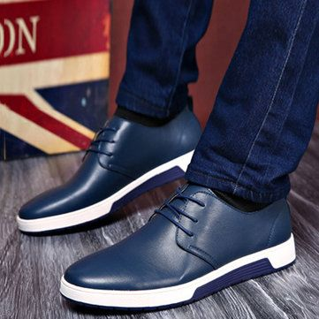 large size men british style pure color leather soft