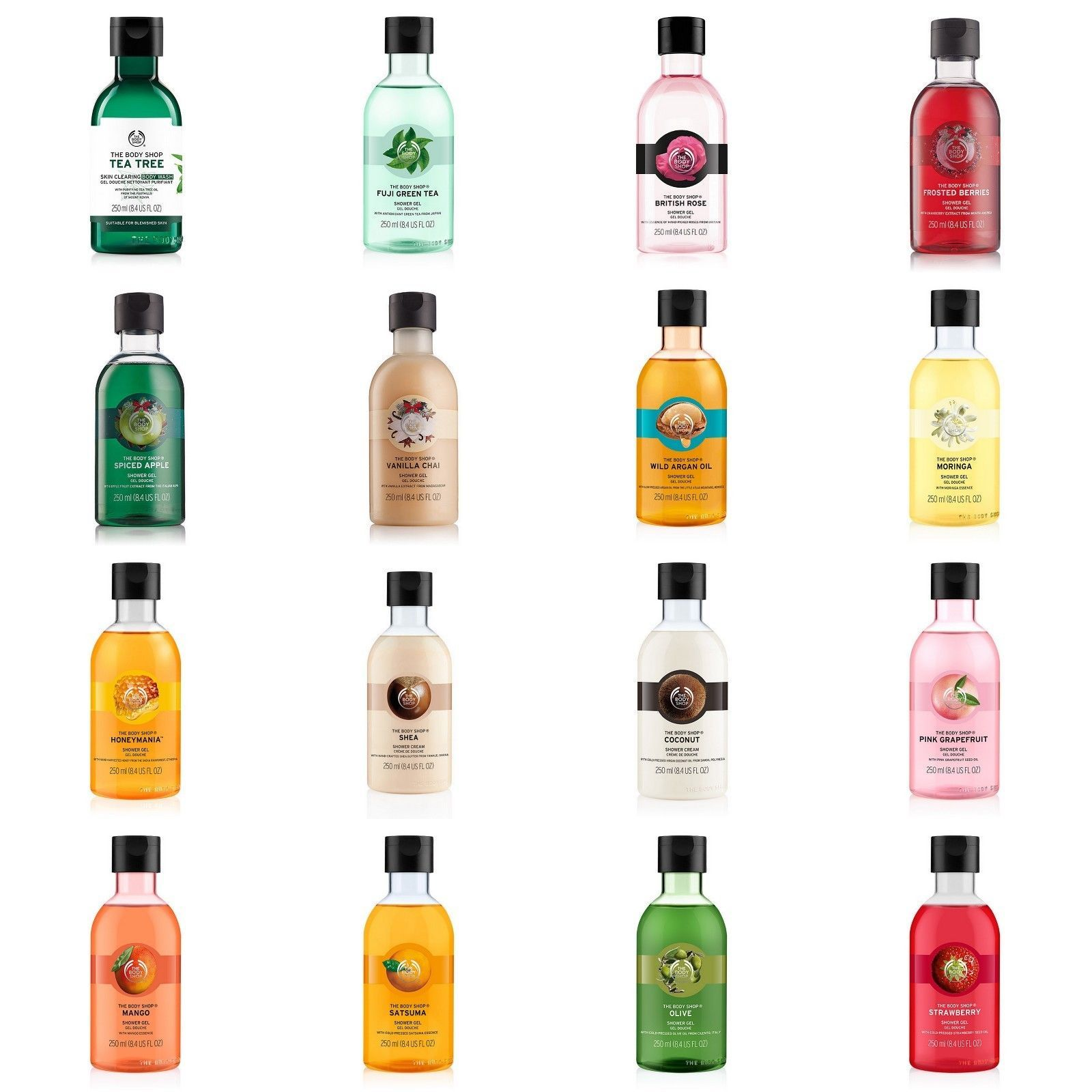 Body Shop Full Range Body Wash Shower Gel 250ml Soap Free