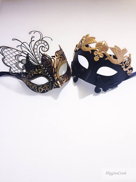 couples mask pair his and hers masks for couples couples mask set mens gold phantom mask Couples Masquerade Masks women/'s pink mask