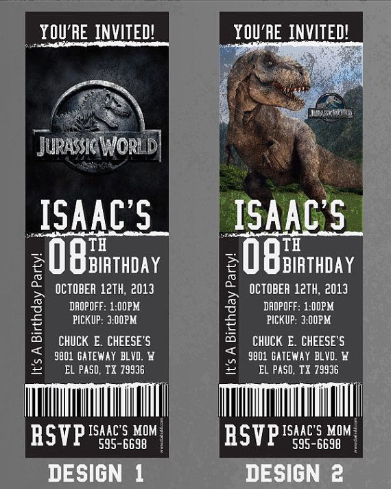 Custom Jurassic World BirthdayEvent Invitation Dinosaurs