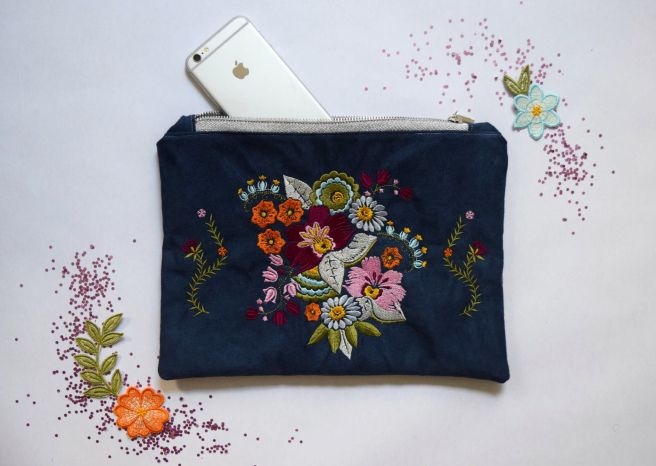 7530c6acc59 Handmade Clutch Featuring Embroidery Made with Janome Skyline S9 and Anna  Maria Horner Designs. Machine Review & Clutch Tutorial by Trish Stitched