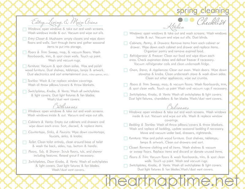 Spring Cleaning Printable Checklist Nap times, Spring and Cleaning
