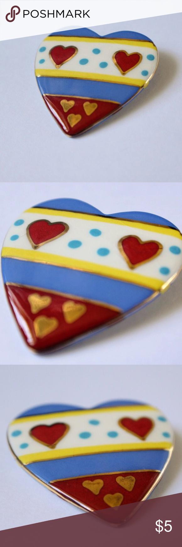 Selling this Colorful Heart Brooch on Poshmark! My username is: lindsayishere. #shopmycloset #poshmark #fashion #shopping #style #forsale #Jewelry