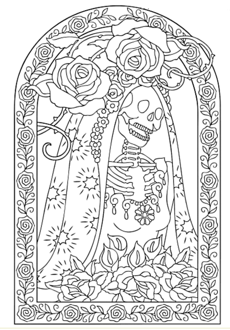 Creative Haven Day Of The Dead Coloring Book Dover Publications Sample Page Skull Coloring Pages Coloring Books Coloring Pages