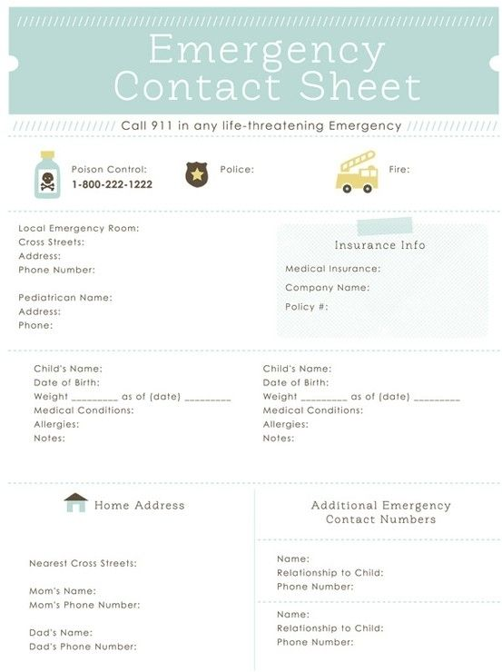 A List Of Important Contacts And Personal Information  Emergency