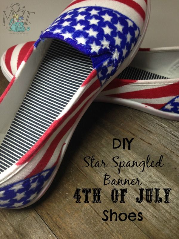 996de11112b716 DIY Patriotic Flag Shoes. Perfect for the Fourth of July!
