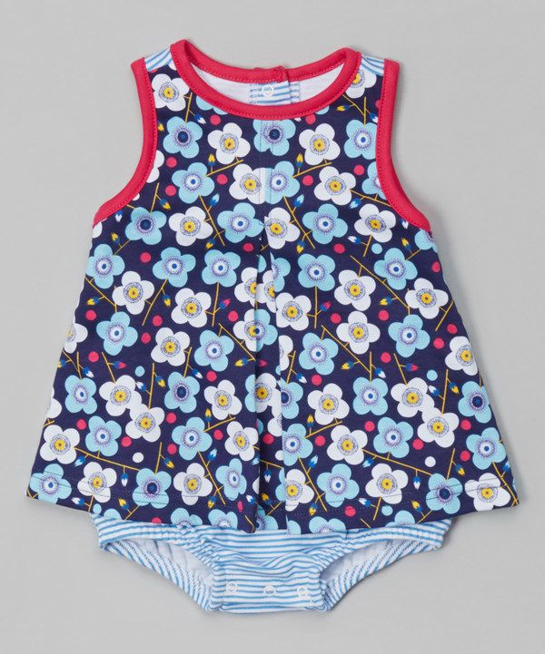 Look at this Navy Floral Skirted Bodysuit - Infant on #zulily today!