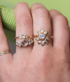 ring rose rings trillion diamond audry mod