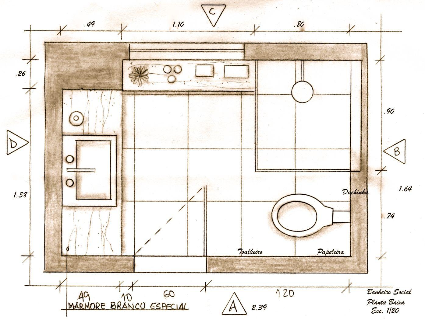 Medidas Banheiro Planta Baixa : Banheiro social planta baixa projeto ana lucia nunes