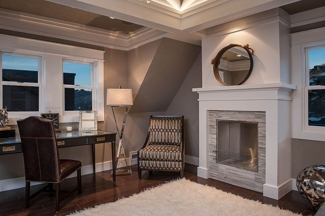 Beautiful home office dachschr ge grau kamin wei e leisten