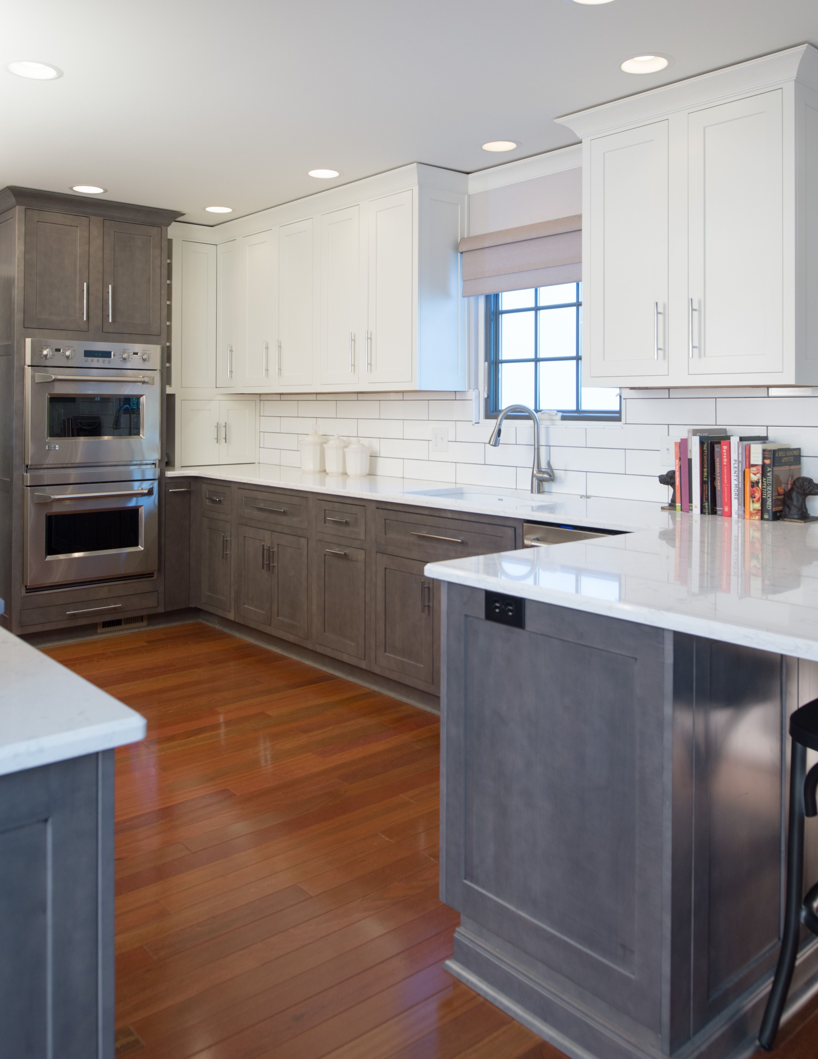 Lower Grey Stained And White Painted Upper Cabinets With