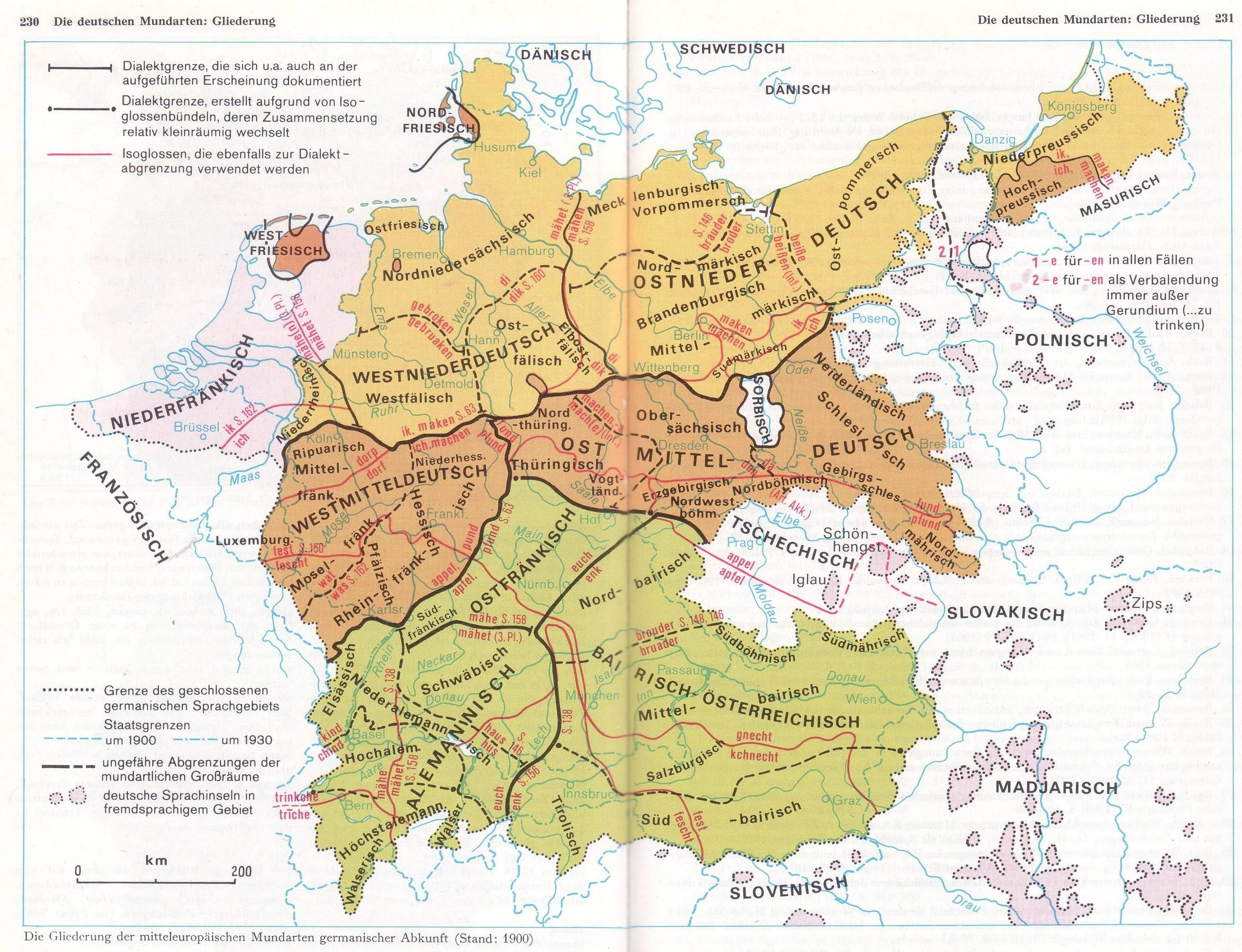German Dialects With Isoglosses 1900 Historical Maps Map Old