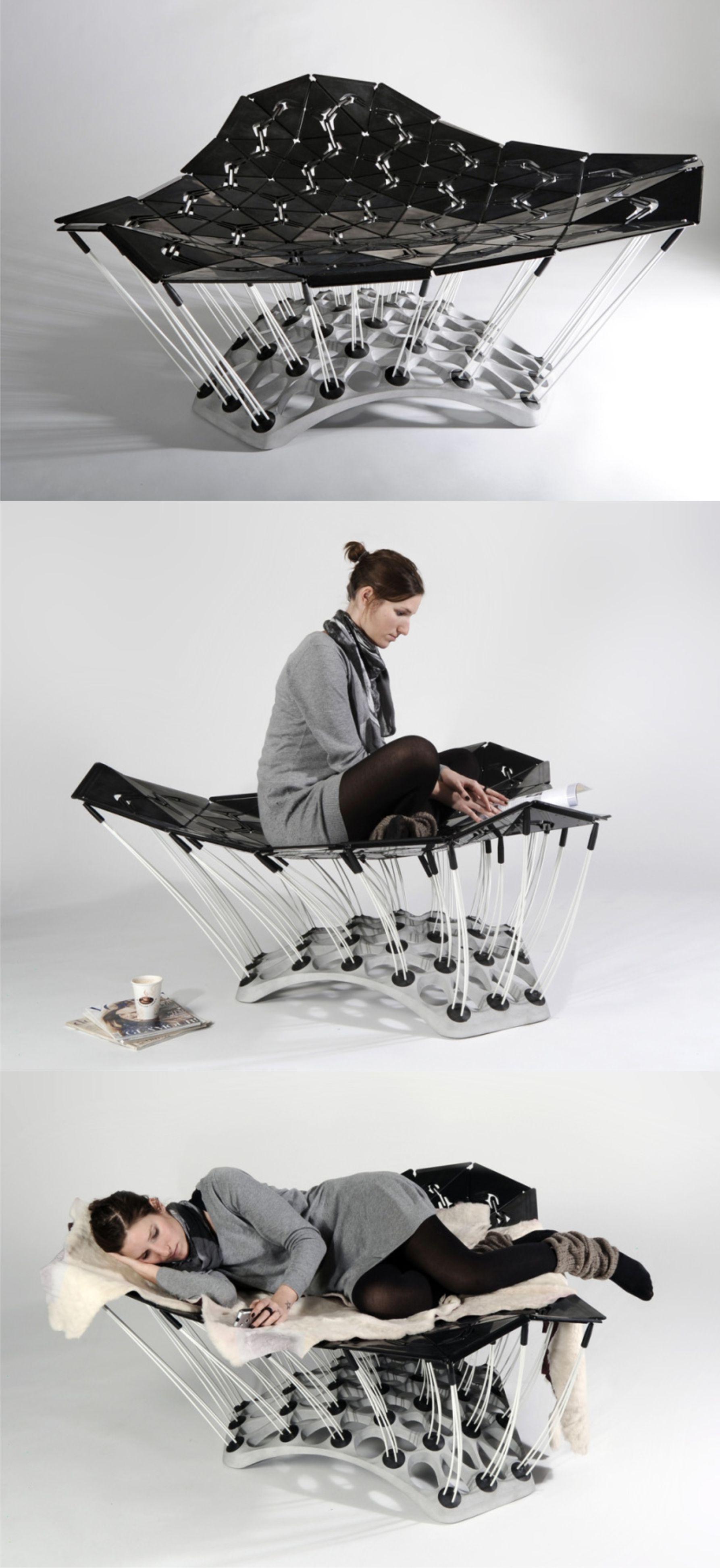 1001 Chair // Diseño: Thomas Hiemann and Markus Dilger //  Diseño con superficie instalada en un grupo de 90 barras elásticas reclinables que se adaptan a la forma del usuario, sin importa la posición, la silla se adapta la postura del cuerpo y brinda la mejor comodidad. Su estructura cuenta con un patrón geométrico que hace parecer que se estuviera suspendido en el aire.