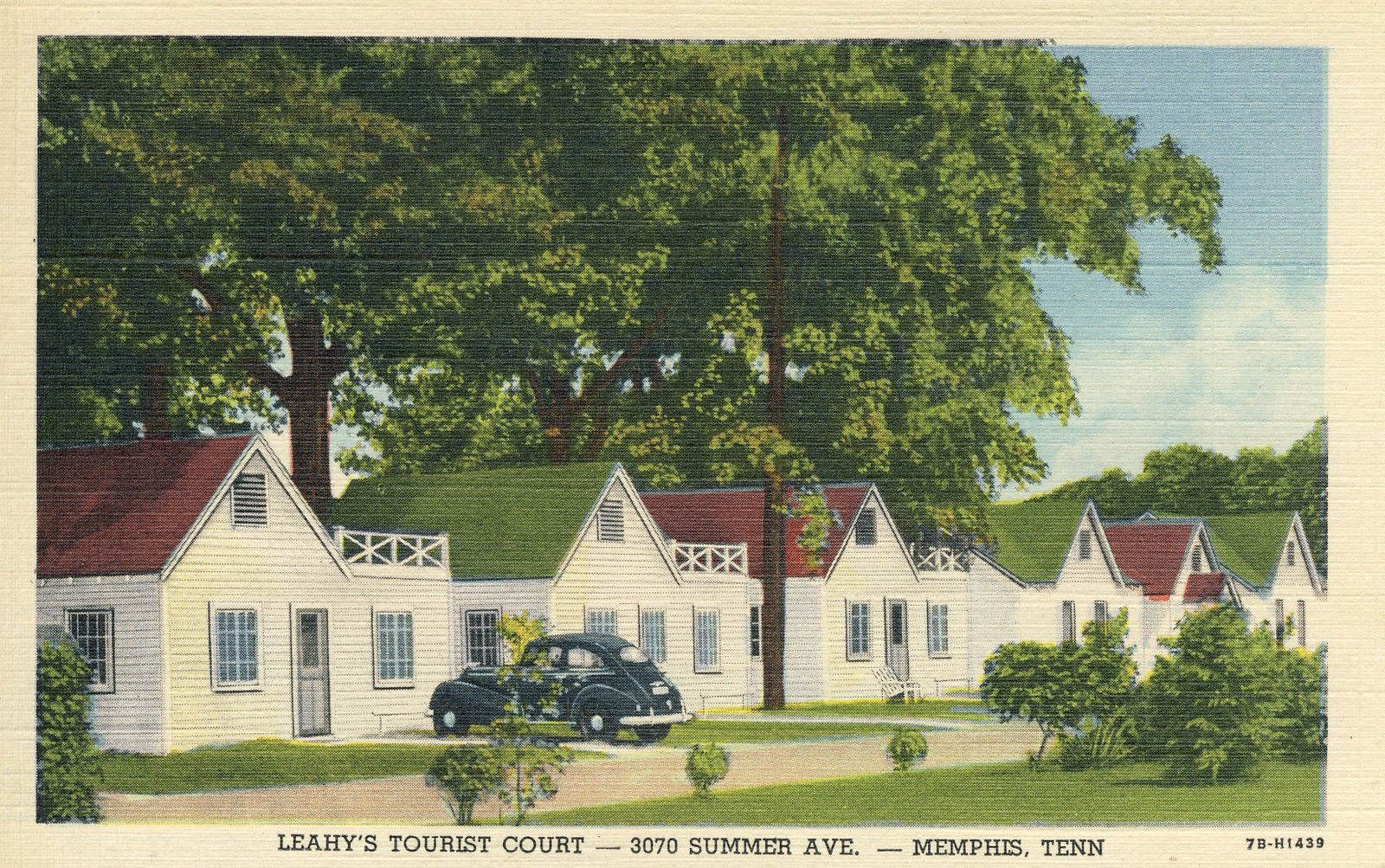 Vintage postcard memphis tn leahy 39 s tourist court motel for Motels near graceland memphis tn
