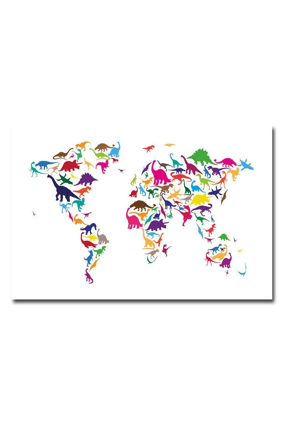 Michael tompsett dinosaur world map canvas wall art beyond the dinosaur map of the world map digital art by michael tompsett dinosaur map of the world map fine art prints and posters for sale gumiabroncs Images