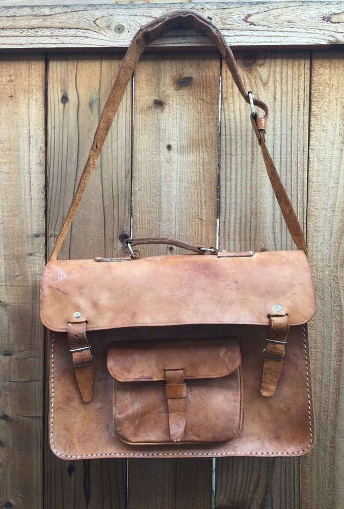 Genuine Vintage Leather Messenger Bag Purse Leather Cross Body Satchel Tote   02029a373cf
