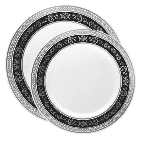 Royal White With Black X2f Silver Rim Plastic Disposable Plates